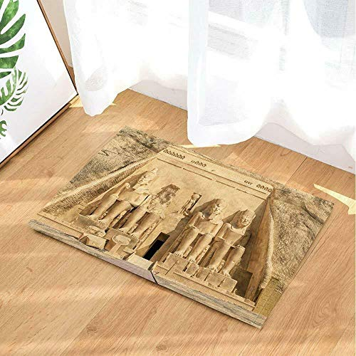 - CDHBH Egyptian Temple of Abu Simbel Temple Home Door Mat Bathroom Living Room Kitchen Bedroom Carpet Bathroom Shower Carpet Waterproof Non-Slip Material Flannel 40x60cm
