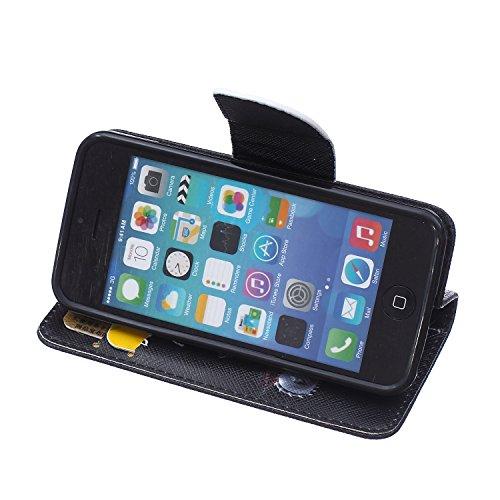Funda iPhone 5C, iPhone 5C Carcasa Funda Cuero [Pluma Libre] Apple iPhone 5C Case Book Estilo Libro billetera con correa de cordón Magnético Folio Flip Caso pata de cabra titular de la tarjeta patrón  No toque mi teléfono