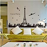 """Oren Empower """"Glow in dark"""" The Great Eiffel Tower large wall sticker (Finished size on wall - 165(w) x 92(h) cm)"""