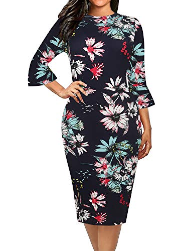 - oxiuly Women's Casual Floral Flare Sleeve Work Pencil Bodycon Midi Dress OX292 (XL, Blue Floral)