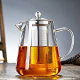 3 spout teapot - TAMUME 950ML Easy-to-Pour Glass Teapot with Stainless Steel Infuser Roomy Stainless Steel Tea Strainer with Bird Spout for Blooming Tea Teapot and Tea Service ideal for 3-4 Persons (900ml)