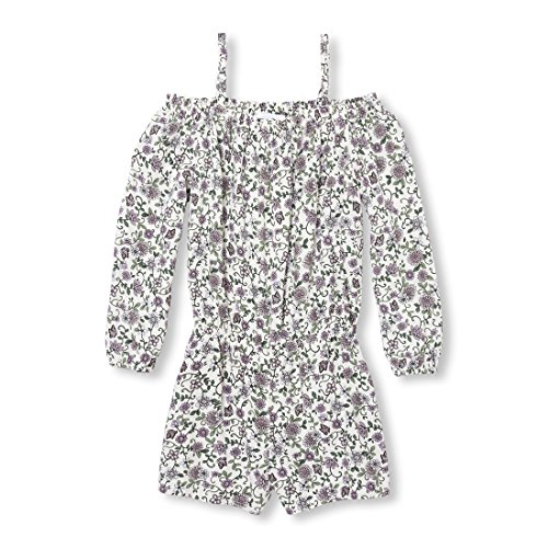 The Children's Place Big Girls' Floral Woven Romper, Bunnys Tail, S (5/6) by The Children's Place