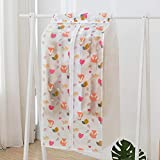 YJBear 1 Pack Lovely Fox Leaf Printed Frosted White PEVA Hanging Garment Bag for Closet Dust-Proof Garment Rack Cover for Clothes Cover Bag Mildewproof Organize Storage 23'' X 20'' X 34.6''