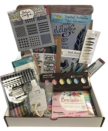 Dandy Bible Journaling Kit # BJK02 Includes Markers Watercolors Stencils Multiliner Stamps Washi Tape Brush Stickers and Acrylic Block by Dandy Store