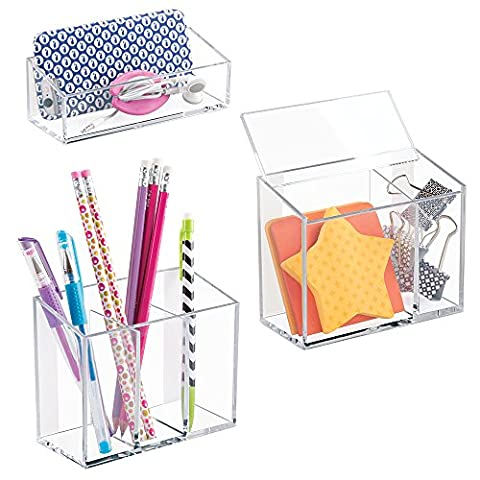 mDesign AFFIXX Peel and Stick Adhesive Locker, Office, Fridge, Bath Organizers - Holds Strong, Removes Cleanly, No Residue - (Set of 3), (Clear Post It Pockets)