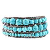 C·QUAN CHI Grey Brown Genuine Leather Wrap Turquoise Aqua Beaded Wrap 21.26''/22.04''/22.83'' adjustable Bracelet Fashion Bohemian Boho Style Jewelry