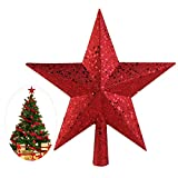 NICEXMAS Red Glittered Christmas Star Tree Topper Unique Xmas Tree Topper for Holiday Decoration(4.5 inch)