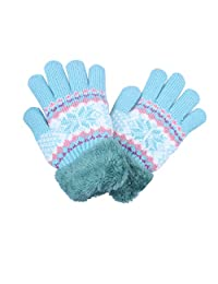Little Girls Winter Gloves With Cozy Fleece Lining Blue color6789Years
