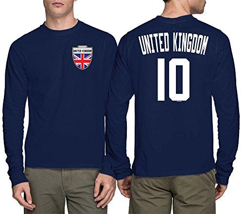 Long Sleeve Mens United Kingdom - Soccer, Football T-shirt (Large, NAVY BLUE) (United Kingdom Shirt compare prices)