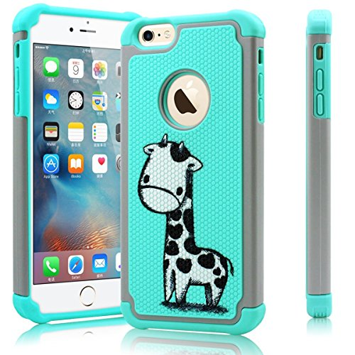 iPhone 6s Case, iPhone 6 case, Milocos [Silicone Series] Shock Absorbing Hybrid Best Impact Defender Rugged Slim Plastic Outer and Rubber Silicone Inner for iPhone 6 and 6s (4.7 inch) (Baby Giraffe)