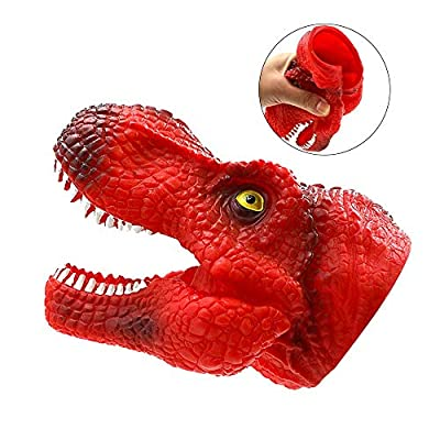 ZY 2Pcs Tyrannosaurus Hand Puppets Soft Stretchy Rubber Dinosaur Puppets Role Play Toy, Realistic Animal Head Kids Toys: Home & Kitchen