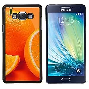 Anaranjado lindo- Metal de aluminio y de plástico duro Caja del teléfono - Negro - Samsung Galaxy A7 / SM-A700