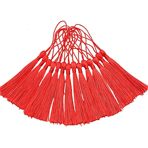 Creanoso Bookmark Tassels, Red (100 Pack)- 100% Handmade Anti-Wrinkled Premium Quality - Great for Bookmarks, Jewelry Making, DIY Projects, Arts and Crafts Creations ()