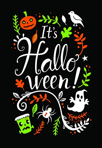 It's Halloween Chalkboard Garden Flag; Black and Orange Frankenstein, Pumpkins and Ghosts; Holiday Decoration Double Sided Seasonal Decorative Banner; 12.5 x 18 inches ()