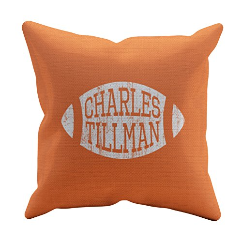 - 500 LEVEL Charles Tillman Soft And Comfortable Throw Pillow - Vintage Chicago Football Merchandise - Orange 16