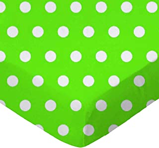 product image for SheetWorld Fitted Stroller Bassinet Sheet - Polka Dots Lime - Made In USA