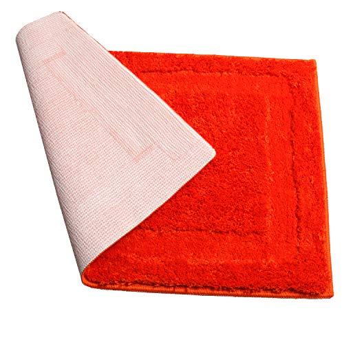 "SHACOS Microfiber Bath Rug Bathroom Rug Bath Mat Bathtub Rug Bathroom Floor Mat Non Slip Soft Wahsable (20""x32"", Orange)"