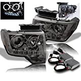 2009-2014 Ford F-150 Halo LED Projector Headlights with 50W 6000K HID Conversion Kit - Smoke