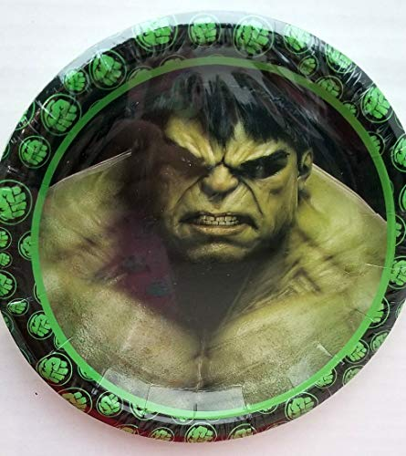 Gallmark The Incredible Hulk Party Plates Cake Birthday Supplies Green Decoration nfinity War Movie - 10 PC (Hulk And The Agents Of Smash Games)