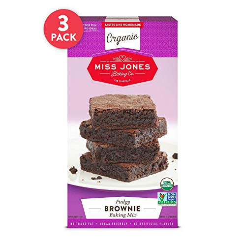 Miss Jones Baking Organic Fudge Brownie Mix, Non-GMO, Vegan-Friendly: Rich Cocoa (Pack of 3) (Brownie Mix Nut Free)