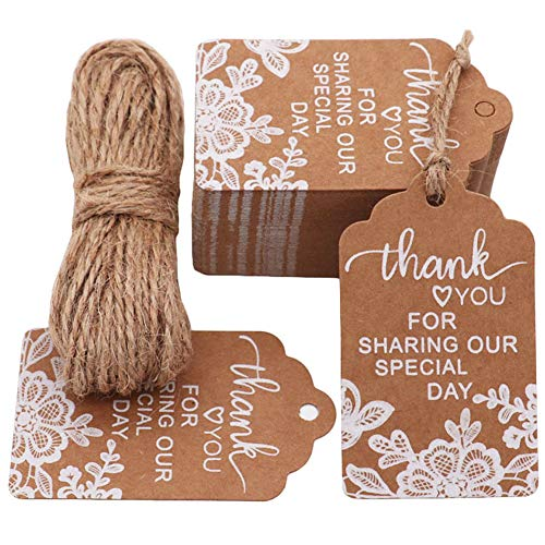MAMUNU Thank You for Sharing Our Special Day Tags, 100 PCS Kraft Tags with 20 Meters Natural Jute Twine for Wedding, Baby Shower, Thanksgiving and Party Decoration (Brown 02)]()