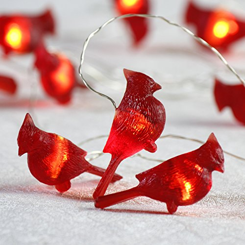 Impress Life Christmas Lights, Red Cardinal Bird Decorative Lights Battery Operated 10 ft 20 LEDs (Big Icon) with Remote Control for Indoor Outdoor, DIY Home New Year Party Holiday Wedding Decoration - Cardinal Bird Ornament