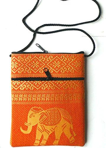Cotone Elephant passaporto borsa a tracolla–arancione con 2tasche con cerniera