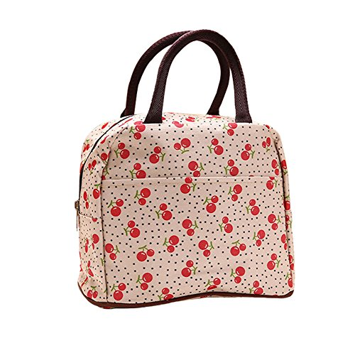 (Wowlife Cherry Lunch Bag Tote Bag Lunch Organizer Lunch Holder Lunch Container Reusable Lunch Bags (Pattern D))