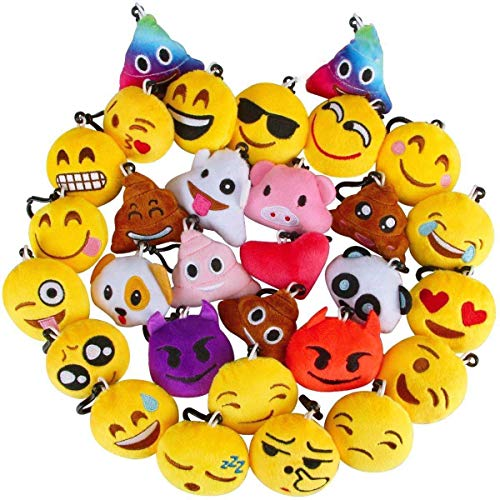 - Aitey 54 Pack Emoji Keychain Mini Plush Pillows, Valentines Gifts Birthday Party Supplies, Party Favors for Kids, Backpack Clips Carnival Prizes