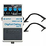Boss DD-3 Digital Delay and 2 Roland Black Series 6 inch Patch Cables