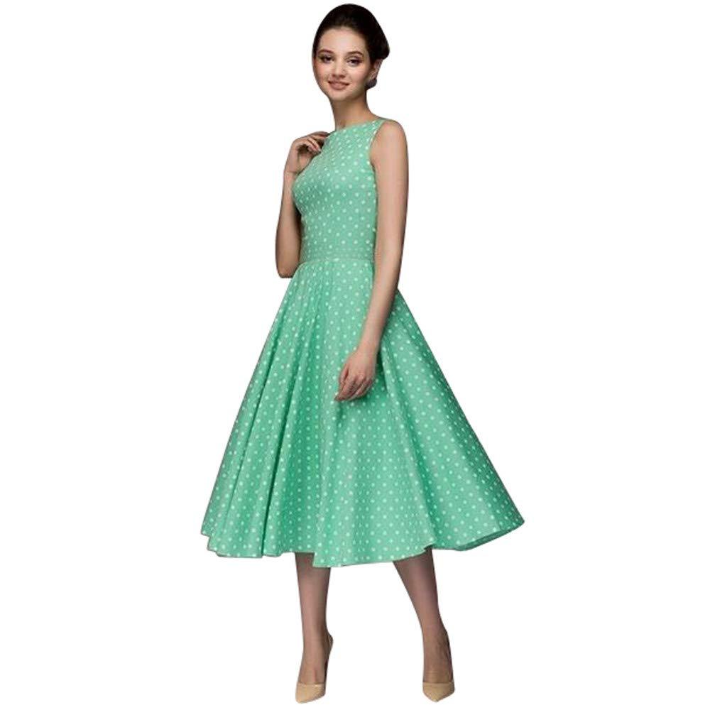 Berimaterry Damen Vintage Polka Dots Kleid A-Linie Ohne Arm Rockabilly Kleid Swing Kleider 1950er Retro Sommerkleid Cocktailkleider mit Polka Dots Kleid Casual Abendkleid