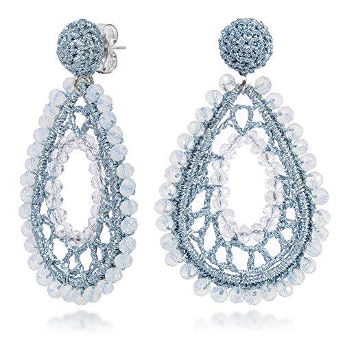 WOWSHOW Chandelier Teardrop Bling Cluster Beaded Drop Dangle Earrings Glass Beads Earrings Fashion Handmade Jewelry for Women Light Blue