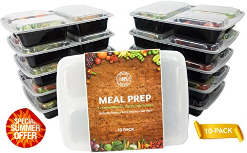 Turning to Wellness - BPA FREE - 3 Compartment Sectioned Lunch Containers with Dividers and Clear Lids – Portion Control Disposable Meal Prep Plates – Stackable Bento Box Set of 10