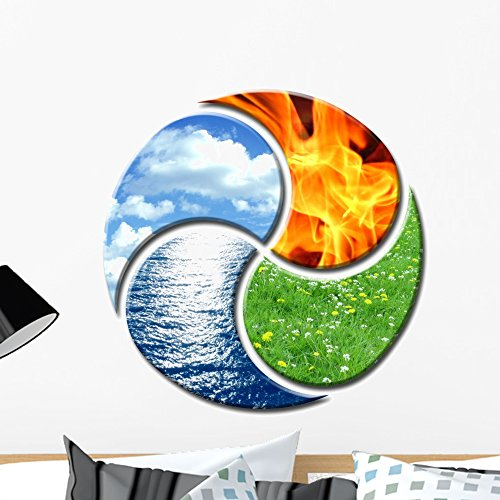 Four Elements as Yin Wall Mural by Wallmonkeys Peel and Stick Graphic (24 in H x 24 in W) (Symbols Canvas Art)