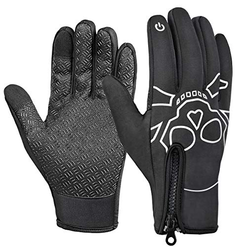 Nylon Print Gloves - WHEEL UP Thermal Bike Gloves Windproof Winter Sports Gloves Full Finger Gloves for Working, Running, Motorcycling, Driving, Climbing (Skull, Large)