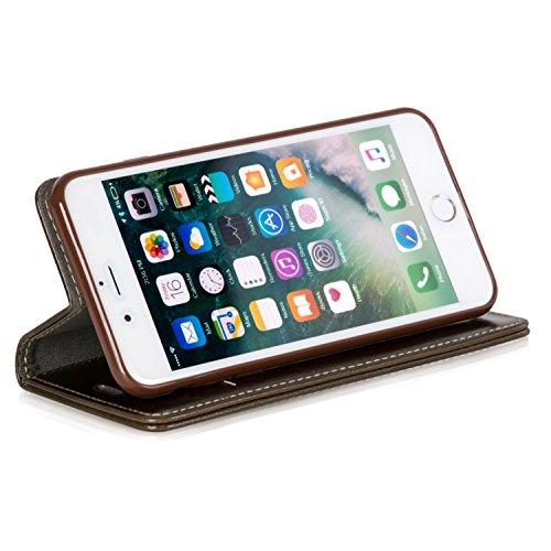 Logic-Seek Case für iPhone 7 Plus Hülle Leder Flip Cover Schutzhülle - Braune Lederhülle im Book-Style mit Standfunktion und Kartenfach für Apple iPhone 7 Plus - Braun