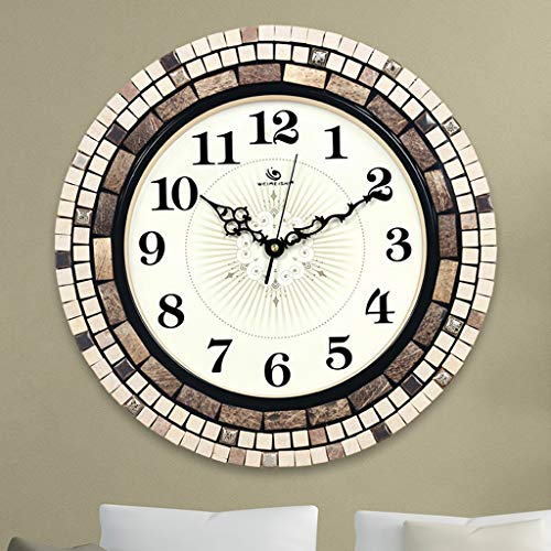 LICCC Stylish and Creative Silent Clock Modern Minimalist Living Room Wall Clock Stone Coconut Shell Hand-Set Inlaid Art Clock (16 -