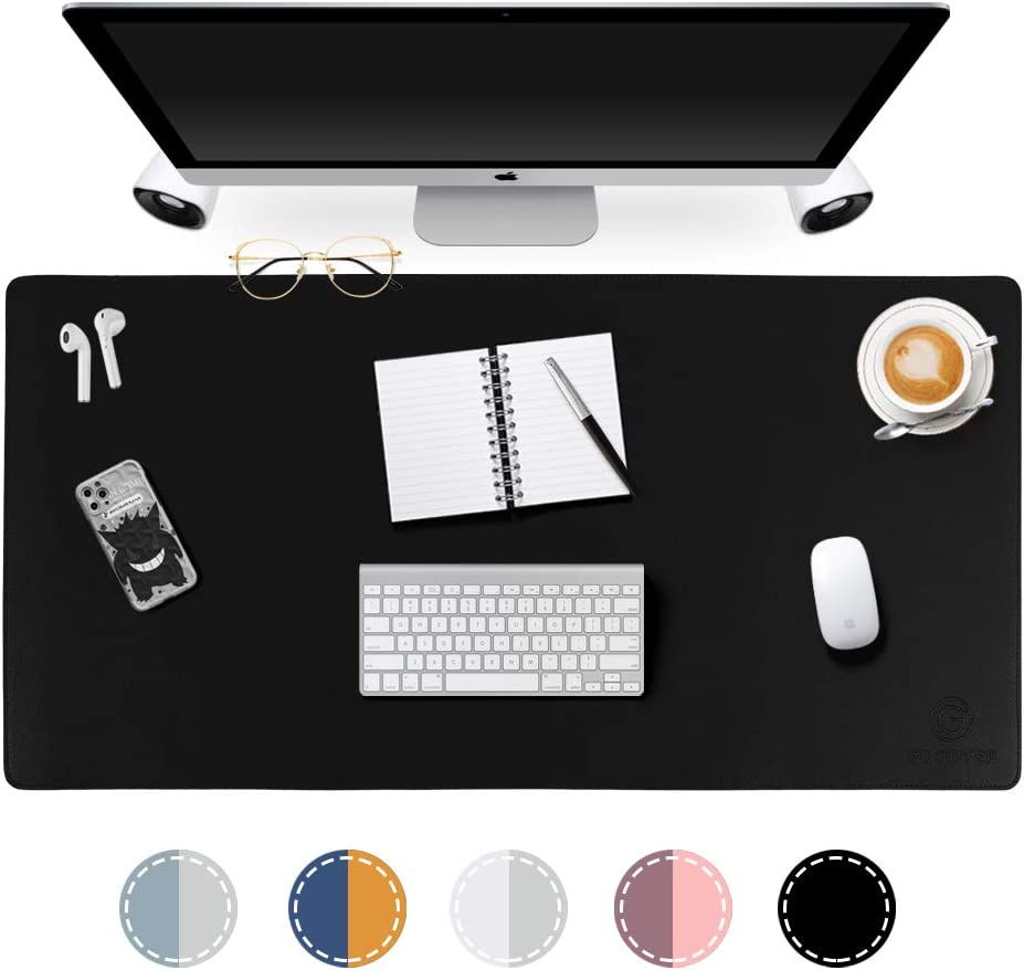 "GOODYEP Desk Pad,Multifunctional Dual-Sided Large Office Desk Mat,PU Leather Desk Mat Blotters Protector,Laptop Desk Mat,Mouse Pad,Desk Writing Pad for Office and Home(Black/Black, 31.5"" x 15.7"")"