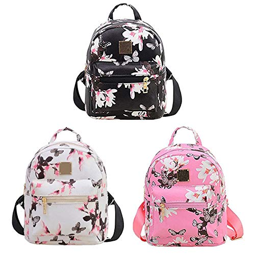 Donalworld Women Floral School Bag Travel Cute PU Leather Mini Backpack S Col6 by Donalworld (Image #2)