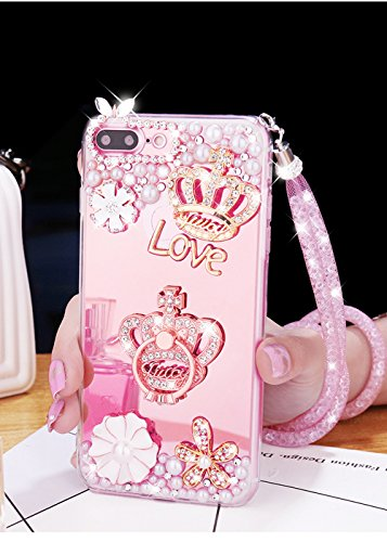 Tianyuanxuan Iphone 7/8 Plus Silicone Case Crystal Rhinestone Bling Diamonds for Girl Crown  Ring Cover with Mirror Soft Shell for Iphone7/ 8 Plus-Rose Gold