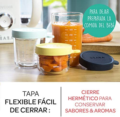 Béaba 912654 - Set potes cristal comida bebe, unisex, color beige ...