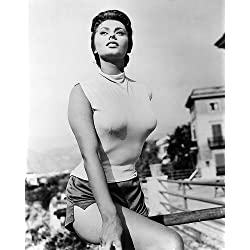 Sophia Loren 16x20 Poster huge breasts in tight top & shorts 1955