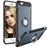 iPhone 7 Case,iPhone 8 Case,Aemotoy Protective Cover Armor Bumper W 360 Degrees Ring Kickstand Clip Metal Plate Bracket Holster Shockproof Defender Anti-Scratch Phone Case for iPhone 7/iPhone 8(Navy)