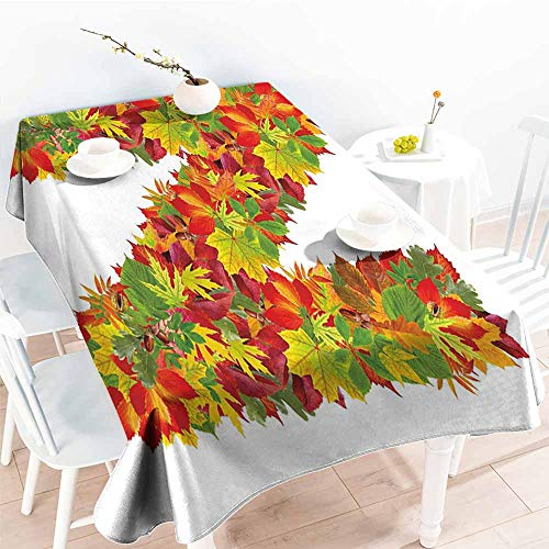 Onefzc Anti-Fading Tablecloths,Letter N Fall Canadian Maple Leaves Shaped Symbolic Writing Sign Flourishing Mother Earth,Fashions Rectangular,W54x72L Multicolor