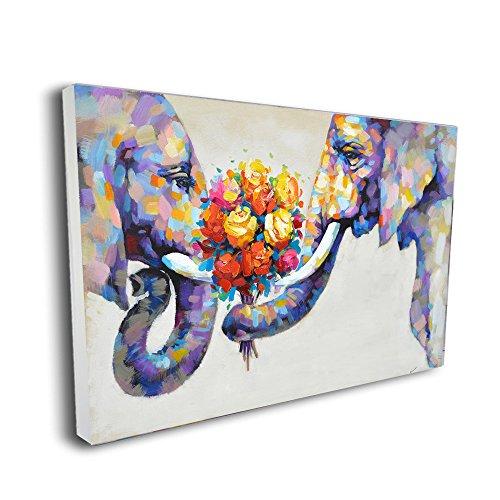 Pinetree Art Elephant Wall Art Painting Elephant Home Decor for Livingroom (48 x 32 inch, Framed)
