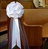 Large White Wedding Pull Bows with Long Tulle Tails - 9' Wide, Set of 6, Wedding Decor, Reception, Anniversary, School Dance, Bridal Shower, Pew Bows