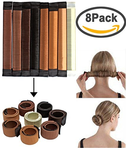 8pcs Bun Maker Hair Bun Shapers Women Girls Donut Hair Bun Maker Magic DIY Curler Roller Hairstyle Tools 8pcs Fine Invisible Hairnet