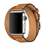 WAfeel Compatible for Iwatch Band 38/42mm Leather Double Tour iwatch Strap Replacement Band with Stainless Steel Adpter Clasp for iPhone Watch Series 3/2 /1,Sport Edition,Men Women(Brown,38mm)