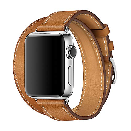 (WAfeel Compatible for Iwatch Band 38/42mm Leather Double Tour iwatch Strap Replacement Band with Stainless Steel Adpter Clasp for iPhone Watch Series 3/2 /1,Sport Edition,Men Women(Brown,38mm))