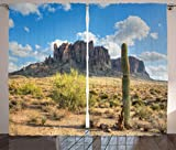 Ambesonne Saguaro Cactus Decor Curtains by, Famous Canyon Cliff with Dramatic Cloudy Sky Southwest Terrain Place Nature, Living Room Bedroom Decor, 2 Panel Set, 108 W X 84 L Inches, Brown Green Blue